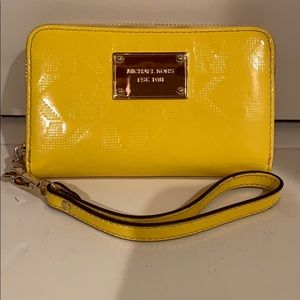 Michael Kors Patent Leather Yellow Wristlet